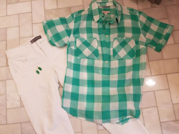 gingham shirt white jeans