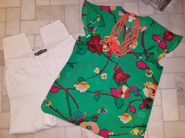 floral top white jeans