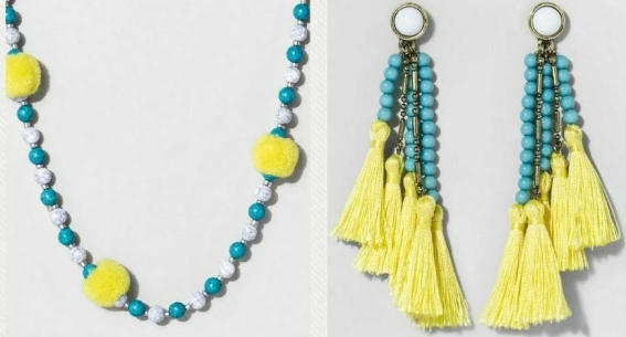 yellow and blue jewelry