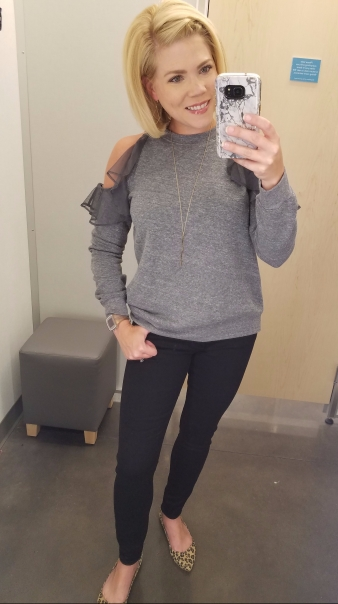 Harlowe & Graham Ruffle Cold Shoulder Sweatshirt - $29.97