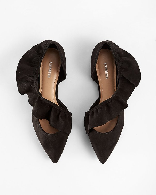 express - ruffle pointed toe flats