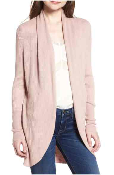 pink coccoon cardi